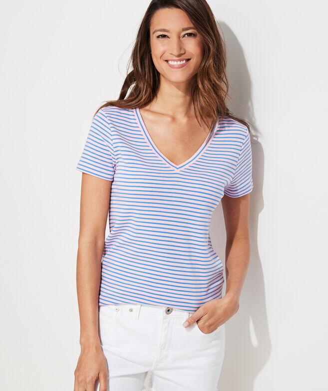 Striped Simple V-Neck Short-Sleeve Tee