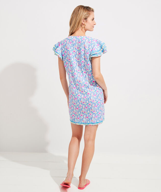 Floral Flamingos Vineyard Tunic Dress