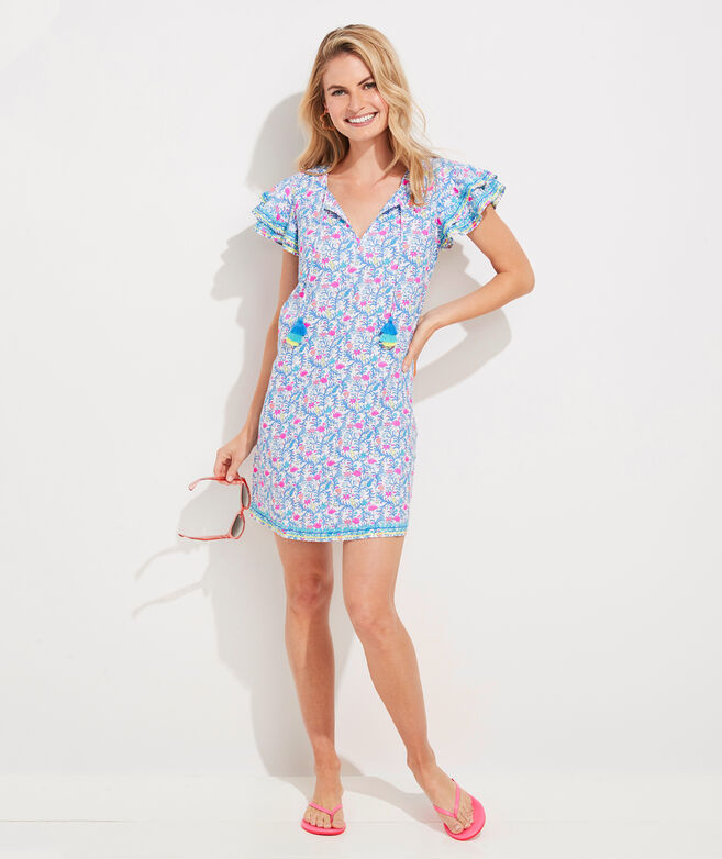 Floral Flamingos Linen Vineyard Tunic Dress