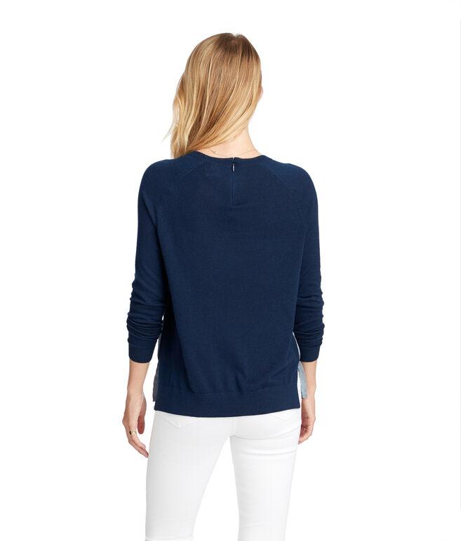 Solid Zip Back Crewneck Sweater
