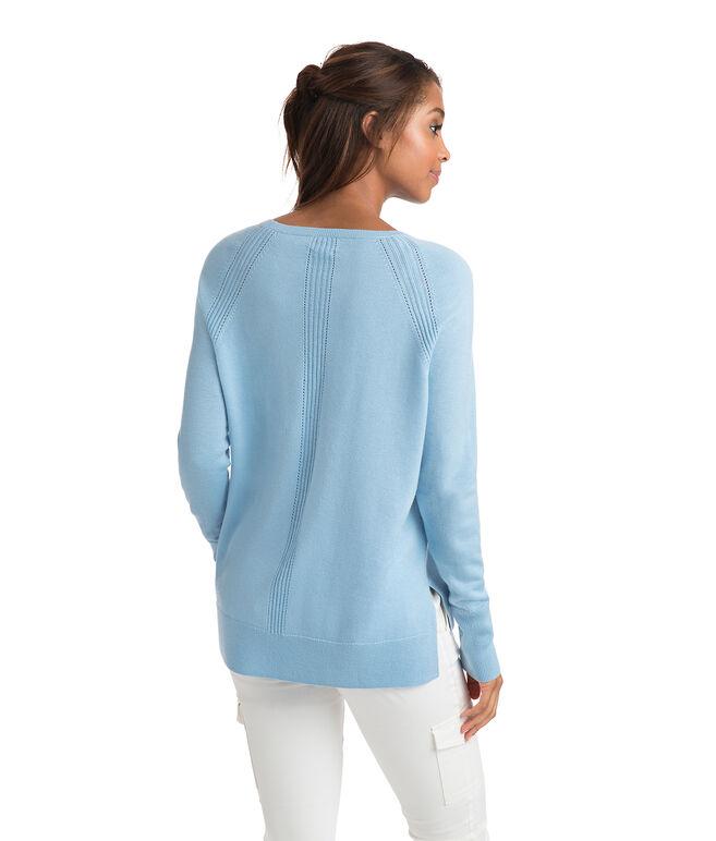 Fine Gauge Hi-Lo Crewneck Sweater