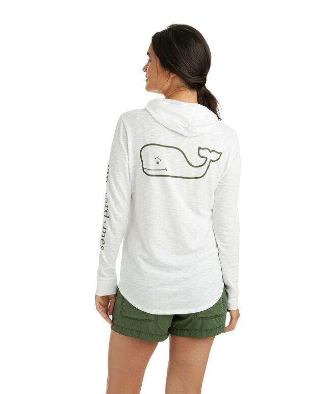 Long-Sleeve Slub Whale Hoodie Tee