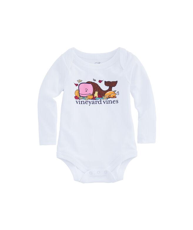 Baby Thanksgiving Cornucopia Whale Long-Sleeve Bodysuit