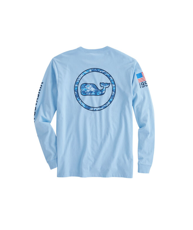 Long-Sleeve Digi Camo Whale Dot Outline T-Shirt
