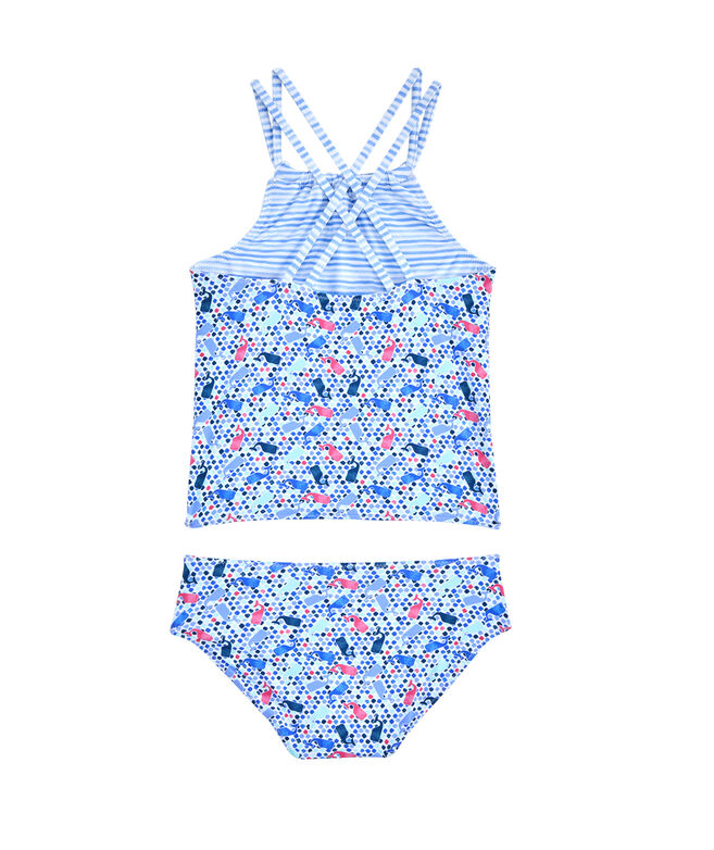 Girls Tiny Diamond Whale Print Reversible Tankini