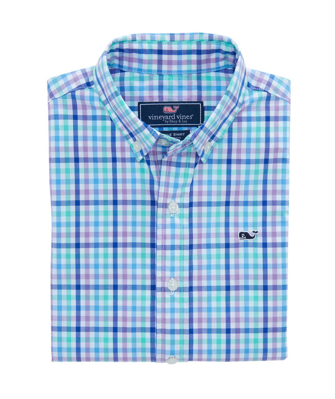 Boys Gaspar Gingham Whale Shirt