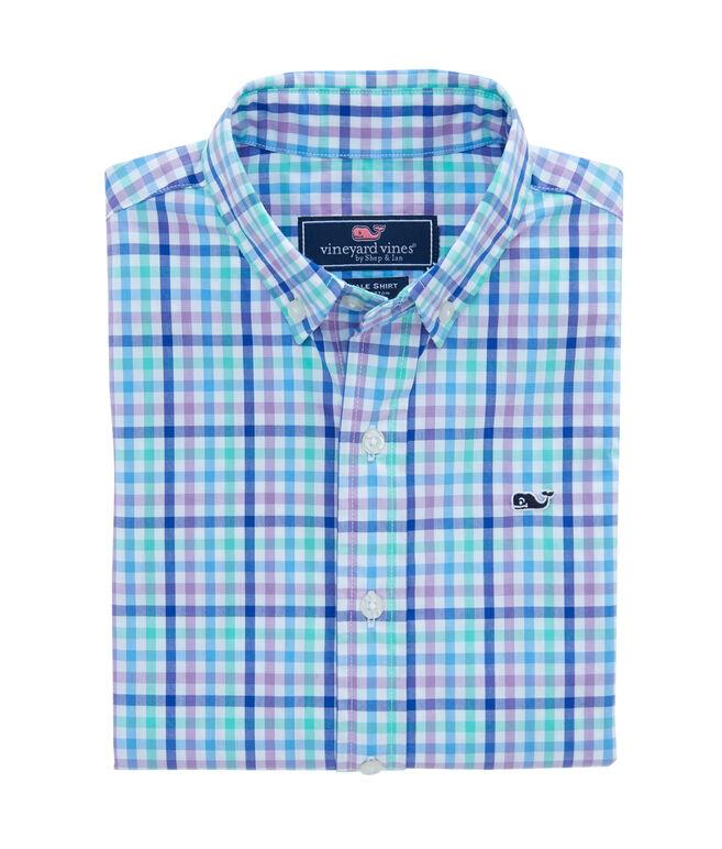 Boys Gaspar Gingham Whale Shirt