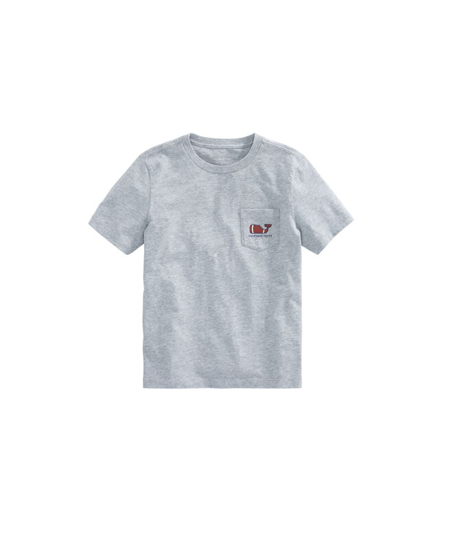 Boys Heathered Football Whale Pocket T-Shirt