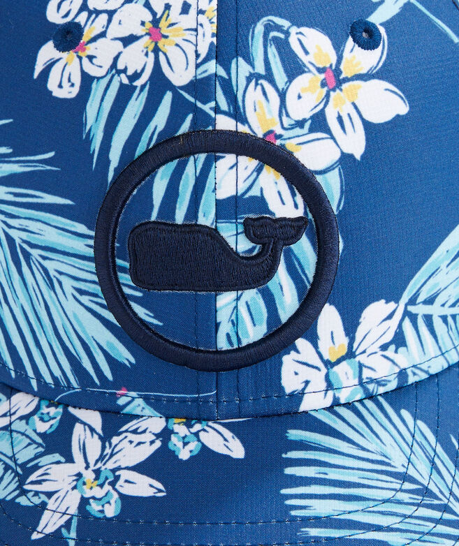Tropical Flowers Whale Dot Performance Trucker Hat