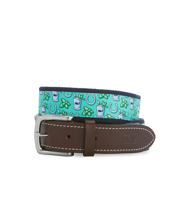 Kentucky Derby Mint Julep Canvas Club Belt