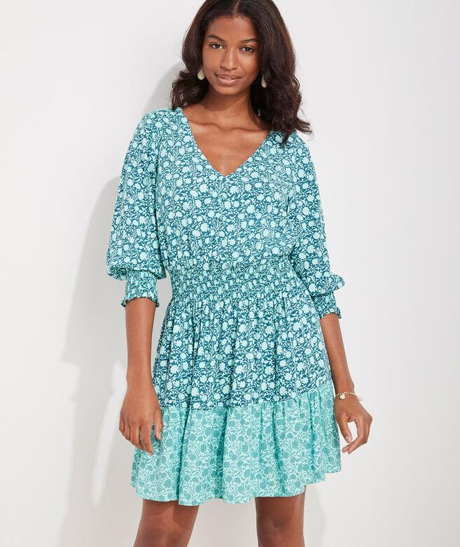 Sea Floral Smocked Waist Dress