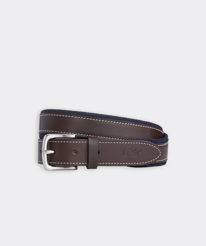 Canvas Trim Leather Belt