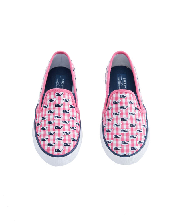Big Kid's Sperry x vineyard vines Embroidered Whale Gingham Seaside Slip-On