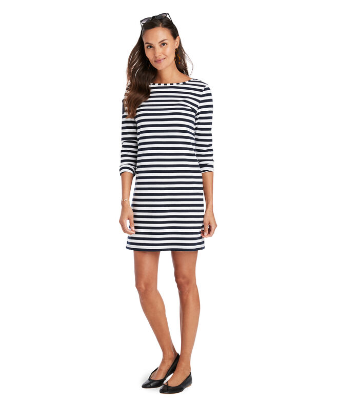 Long-Sleeve Stripe Knit Dress