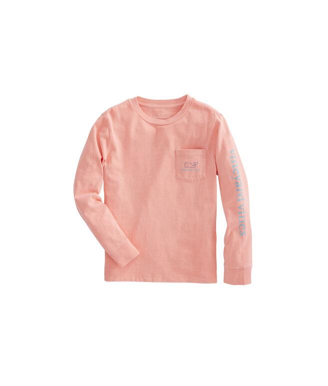 Boys Long-Sleeve Two Tone Vintage Whale Pocket T-Shirt