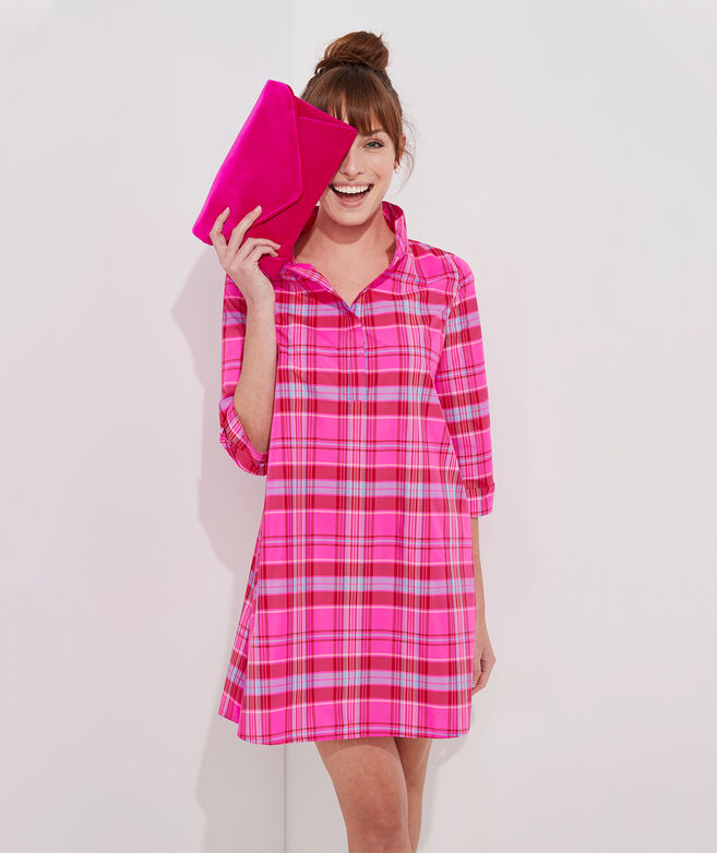 vv x Tuckernuck Taffeta Party Plaid Shirt Dress