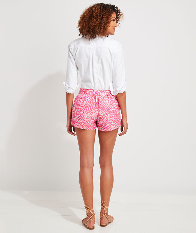 Island Scarf Print Pull-On Shorts