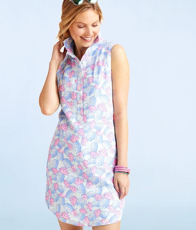 Pineapple Printed Shirt Dress