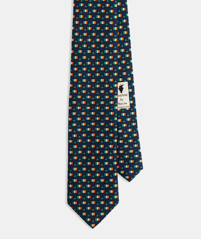 St.Paddy's Flag & Shamrock Printed Tie