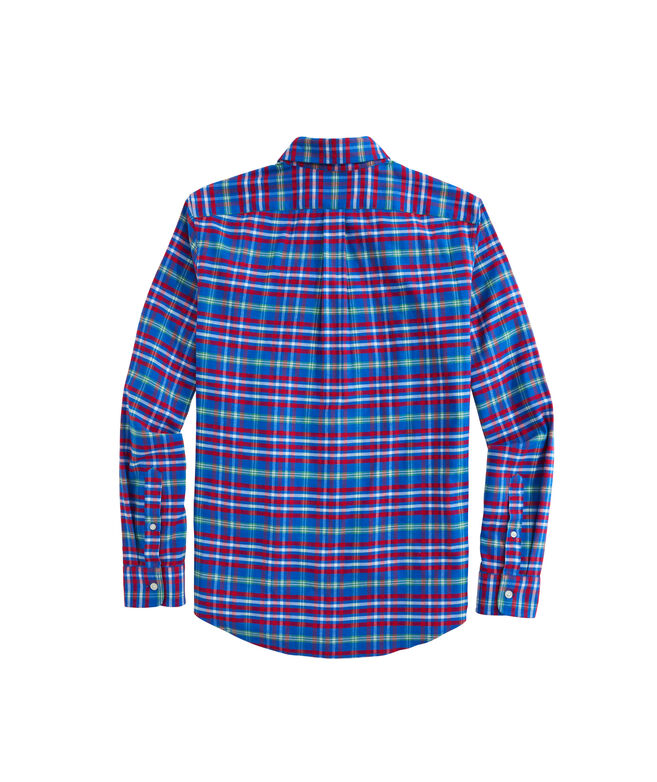 OUTLET Slim Fit Mill River Plaid Stretch Flannel Whale Shirt