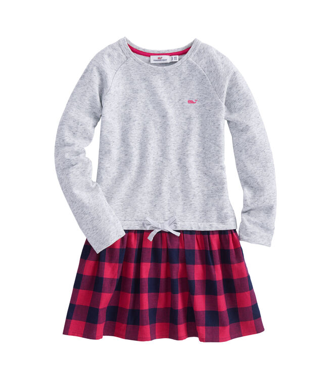 Girls Carmel Buffalo Check Sweatshirt Dress
