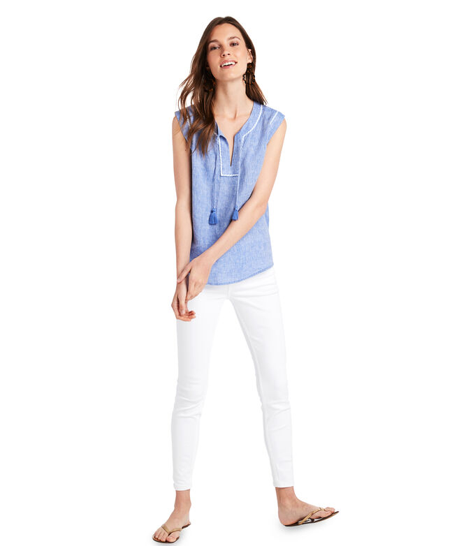 Notch Neck Tassel Popover
