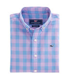 Boys Deep Hollow Gingham Whale Shirt