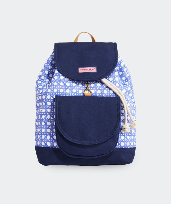 Painted Rattan Daypack Backpack