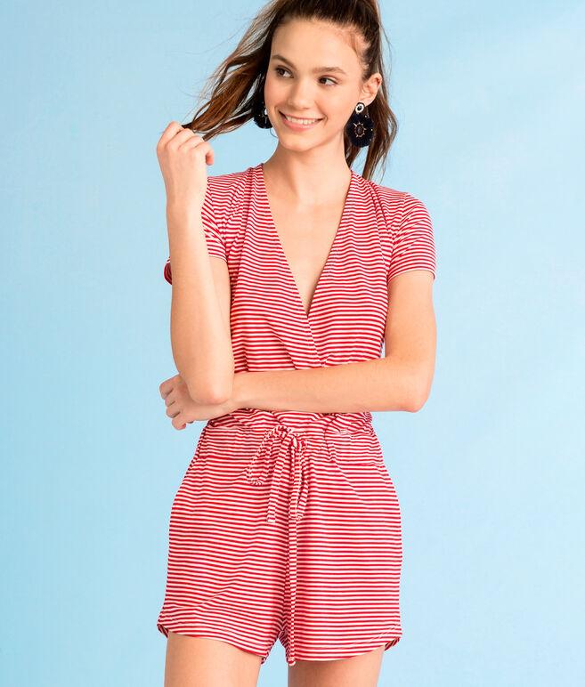 Knit Red & White Stripe Crossover Romper