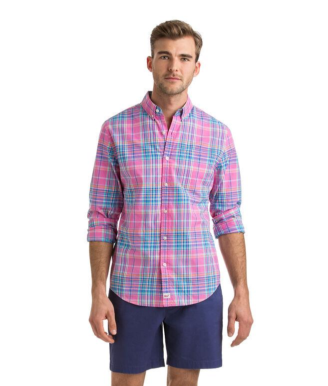 Coral Cliff Plaid Slim Murray Shirt