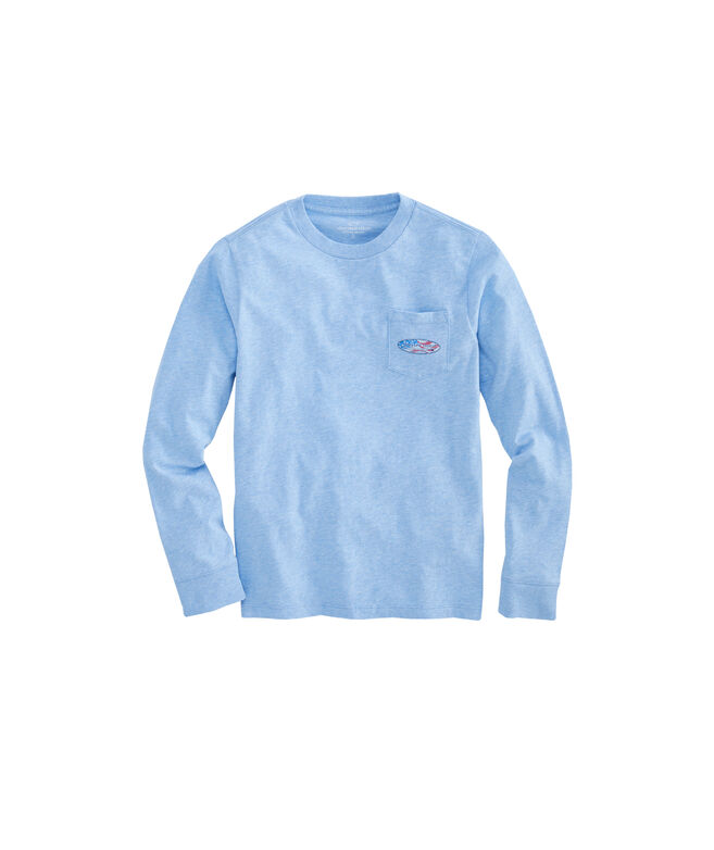 Boys Long-Sleeve USA Surf Logo Pocket T-Shirt