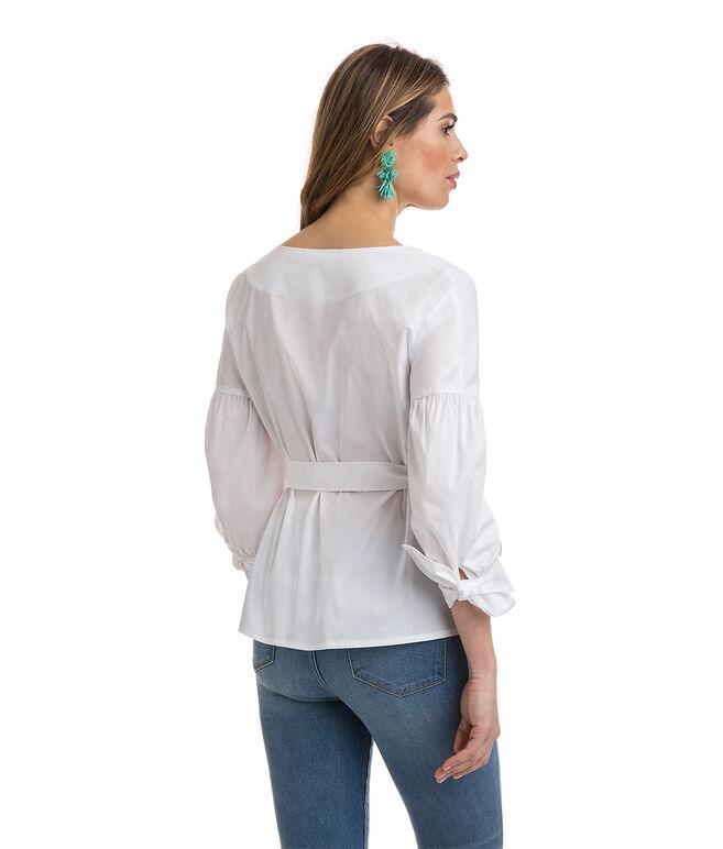 Cross Front Bell Sleeve Shirt