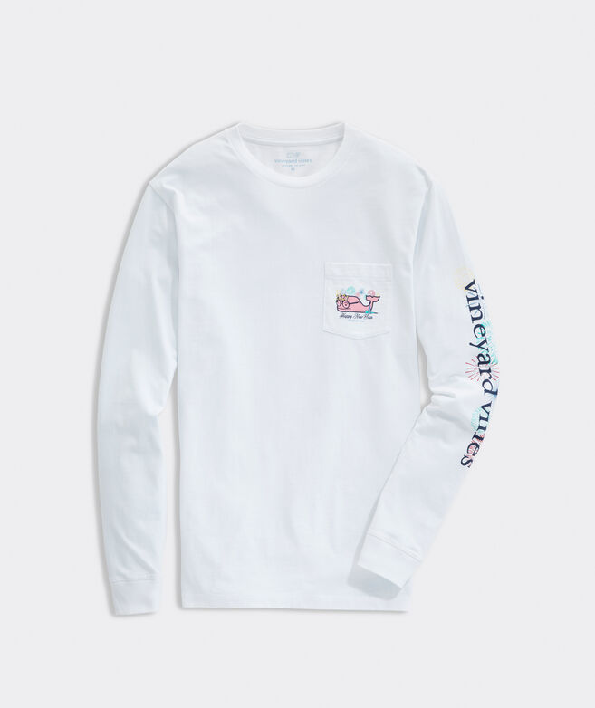 2021 New Years Party Whale Long-Sleeve Pocket Tee