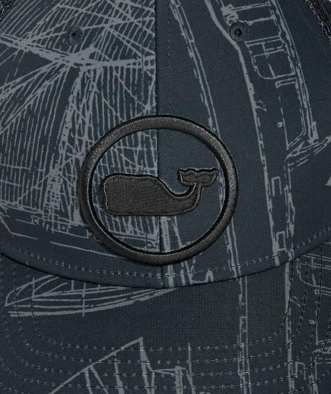 Maritime Whale Dot Performance Trucker Hat