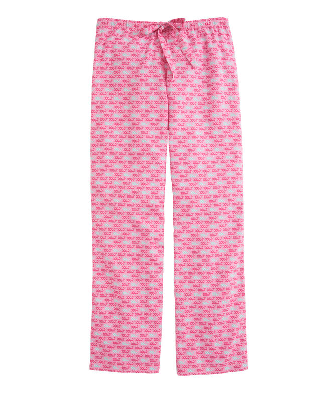 OUTLET Women's Dots and Stripes Whale Flannel Lounge Pants