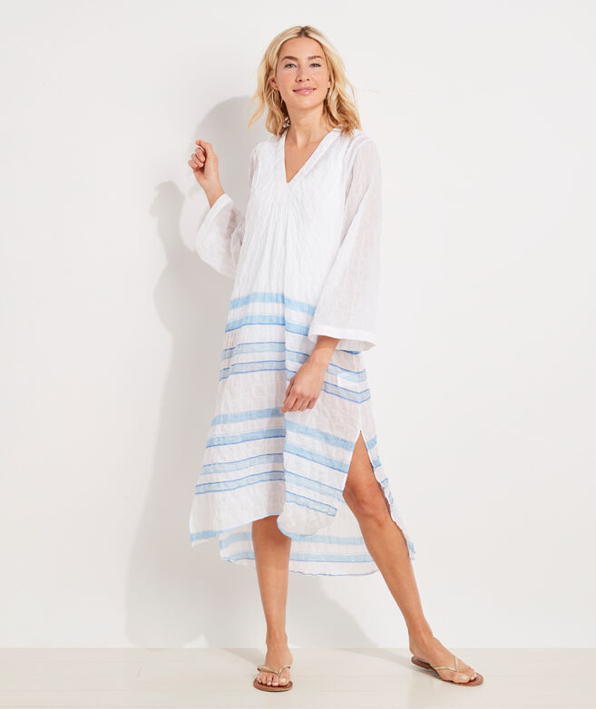Striped Textured Midi Cover-Up