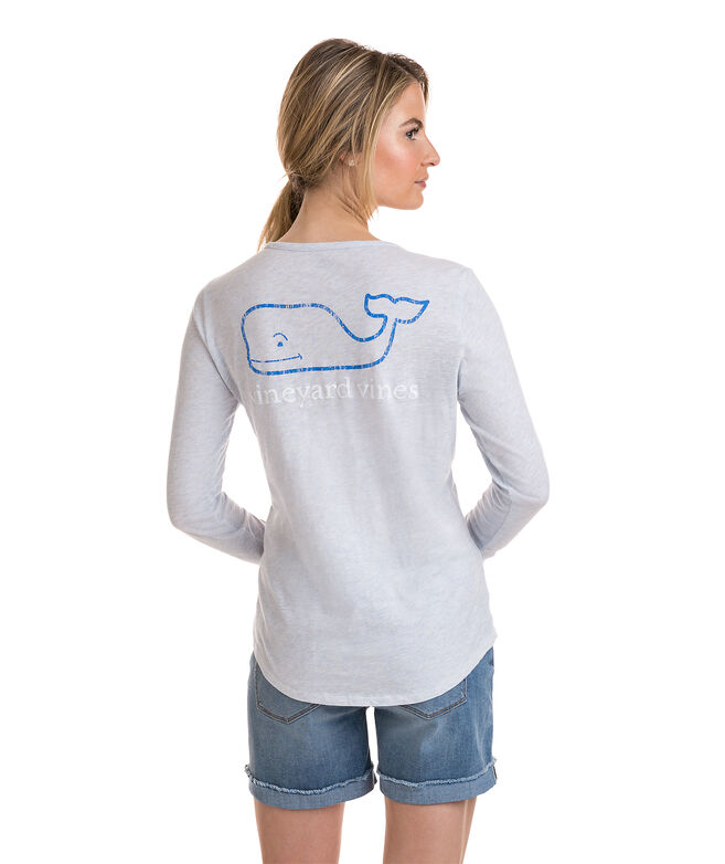 Long-Sleeve Slub Tri Color Vintage Whale Tee