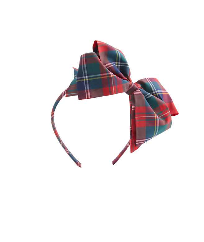 Girls Plaid Ribbon Bow Headband