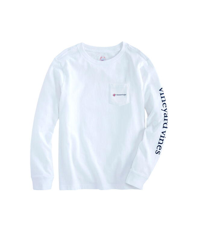 Boys Long-Sleeve Breast Cancer Awareness Logo Pocket T-Shirt