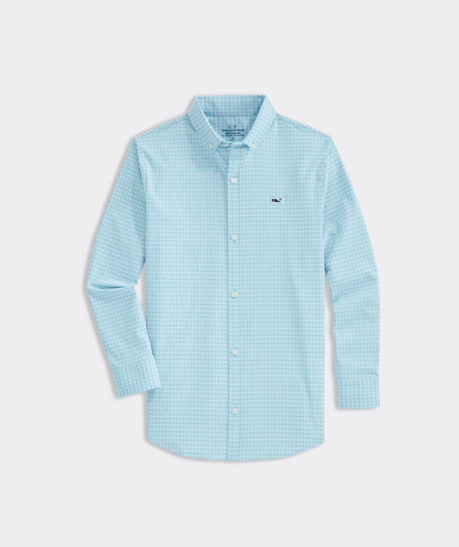 Boys' Gingham On-The-Go Performance Whale Shirt