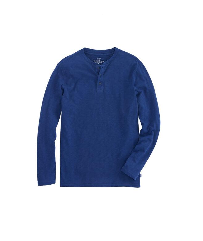Jersey Garment Dye Slub Henley T-Shirt