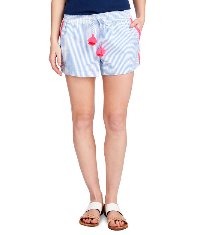 Striped Pop Embroidered Pull-On Shorts