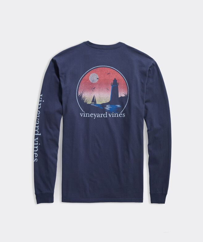 Sunset Lighthouse Scene Long-Sleeve Pocket Tee