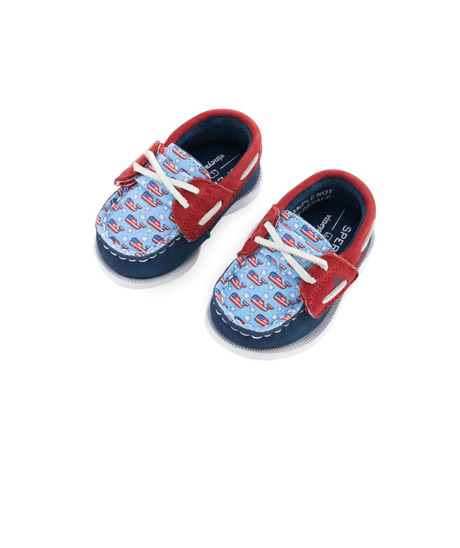 Infant Sperry x vineyard vines Americana Patchwork Authentic Original Crib Boat Shoe