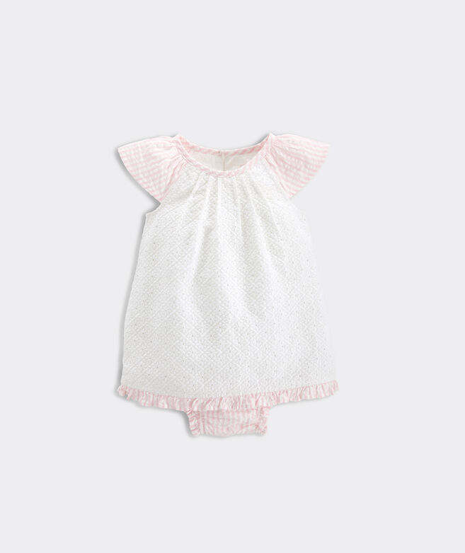 Baby Seersucker Eyelet Dress with Bloomers