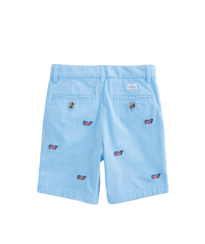 Boys Flag Embroidered Stretch Breaker Shorts