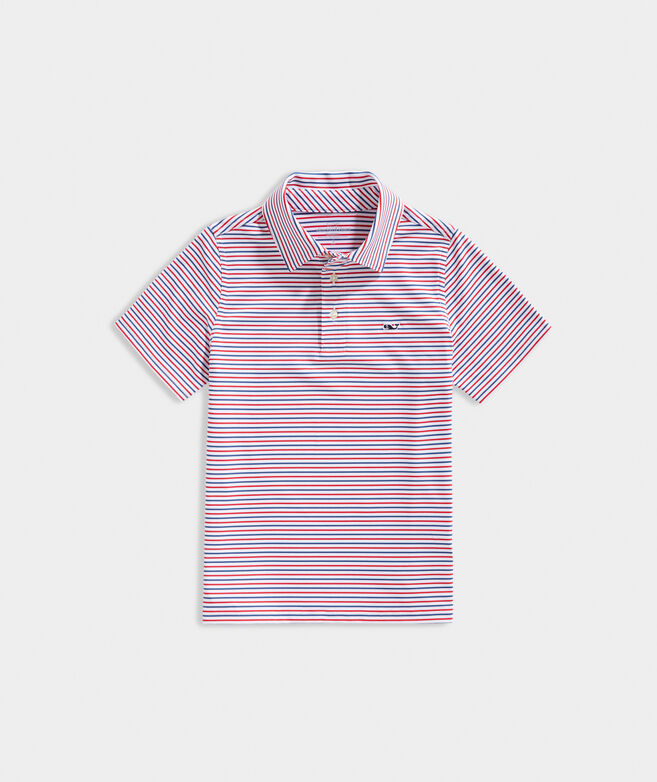 Boys' Multi Bradley Stripe Sankaty Performance Polo