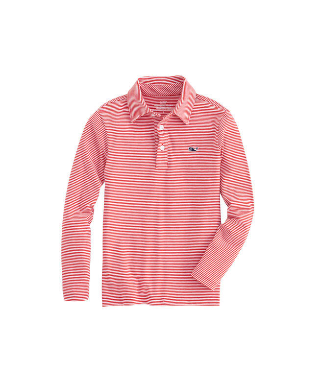 Boys Long-Sleeve Color to White Striped Edgartown Polo