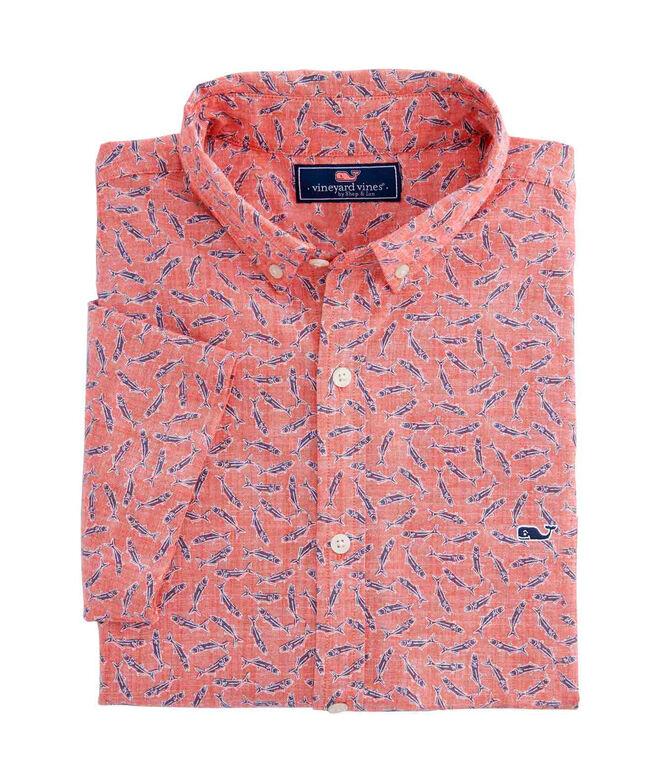 OUTLET Men's Blue Fish Slim Short Sleeve Whale Shirt