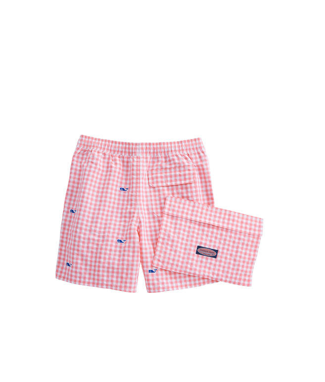Boys Micro Gingham Whale Embroidered Chappy Trunks